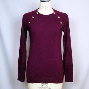 Tory Burch Purple 100% Cashmere Ribbed Sweater M